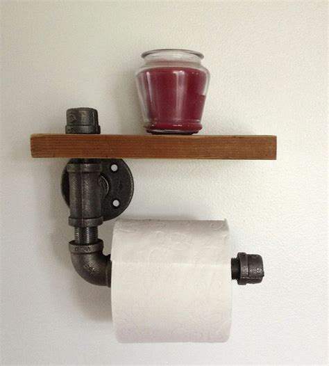 Propranolol Shelf by Reclaimed Wood Pipe Toilet Paper Holder Home Bathroom