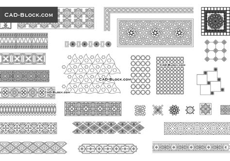 islamic pattern free dwg arabic decorative patterns design textures art 2d cad