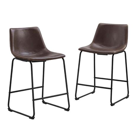 Faux Leather Counter Stools by Walker Edison Faux Leather Counter Stools Brown Set Of 2