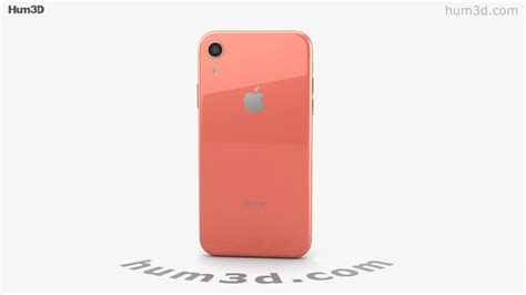 apple iphone xr coral 3d model by hum3d