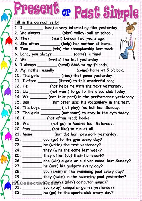 english teaching worksheets simple past present or past simple 1 186 eso pinterest english