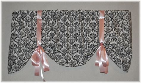 black tie up curtains tie up damask valance in black and white