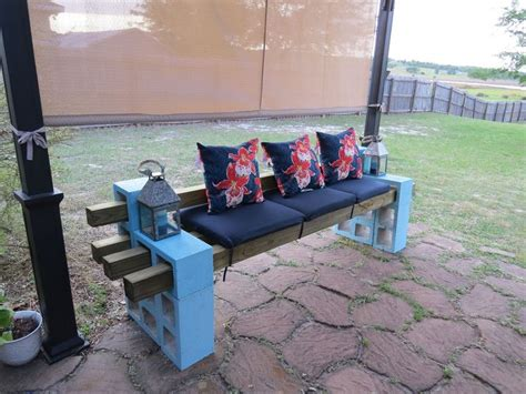cheap concrete benches diy patio bench using concrete cinder blocks 4x4 wood and
