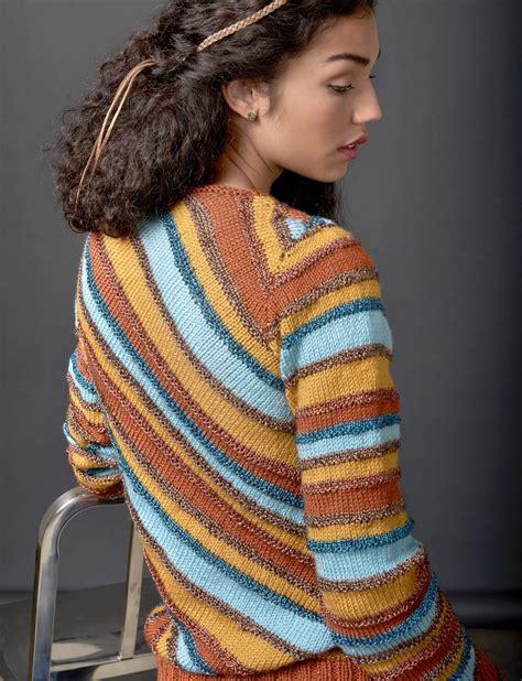 knitting pattern striped jumper patons diagonal stripes sweater knit pattern yarnspirations