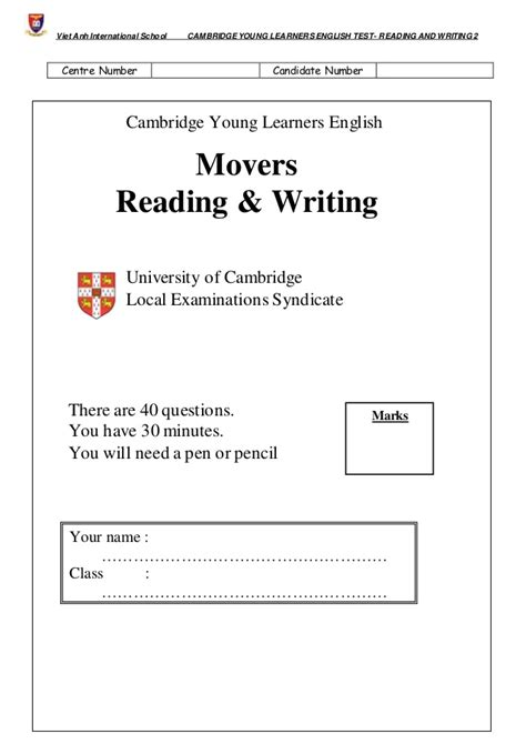 Essay About Reading And Writing by Movers Reading And Writing Test 2 Ok