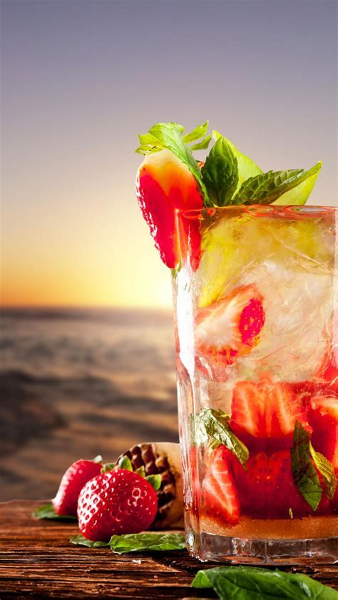 Tropical Strawberry Cocktail Beach Mint Android Wallpaper