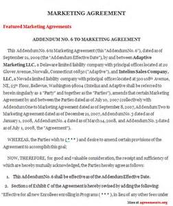 Marketing Services Contract Template by Marketing Agreement Sle Marketing Agreement Template