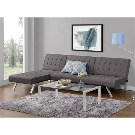 emily convertible futon gray linen convertible linen futon in gray 2007429