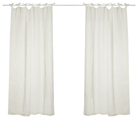 White Tie Top Curtains 1st Avenue Hilary Linen Curtains With Tie Top White View In Your Room Houzz