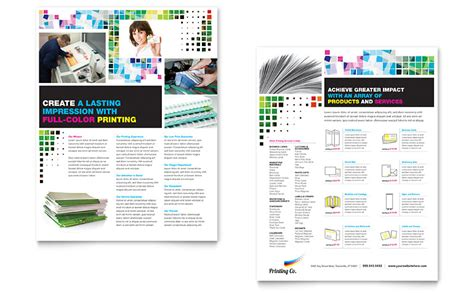 Printing Company Datasheet Template Word Publisher Product Sales Sheet Template