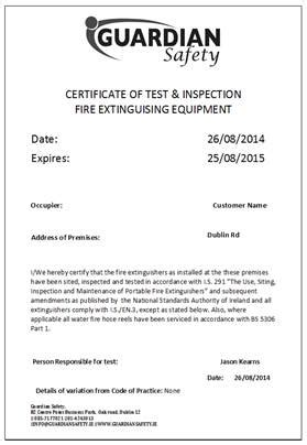 extinguisher certificate template extinguisher servicing guardian safetyfire