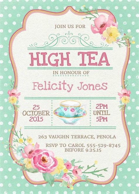 high tea invitation printable for bridal shower tea or