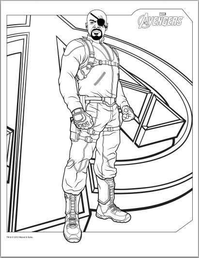 avengers coloring pages pdf avengers nick fury coloring page colouring pinterest