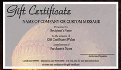 baseball gift certificate templates easy to use gift