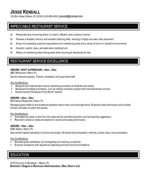 Hotel Waiter Resume Sle restaurant hostess resume amitdhull co 100 images
