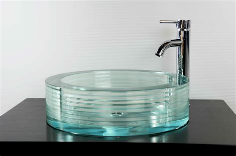 Kitchen Sink And Faucets by Round Glass Vessel Bath Sink Gs 112 Sinks Gallery
