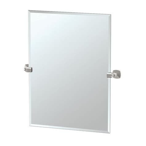 frameless rectangular bathroom mirror shop gatco gatco jewel 23 5 in x 31 5 in satin nickel