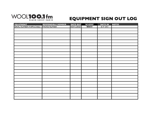 best photos of equipment sign out template equipment