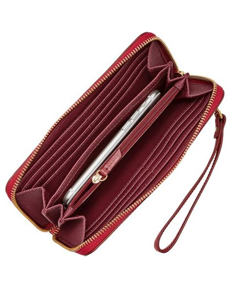 Fossil Zip Clutch Crimson fossil leather large zip clutch bag in lyst