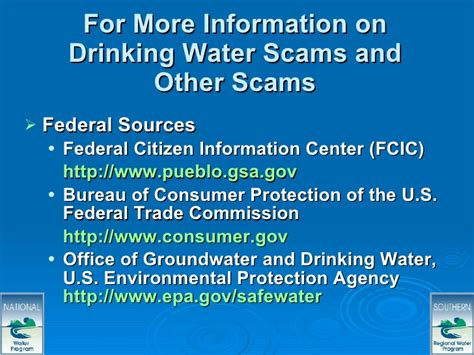 us federal trade commission bureau of consumer protection water scams regional ppt web