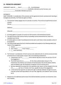 Dj Booking Contract Template by Dj Promoter Contract Template For Hiring A Dj