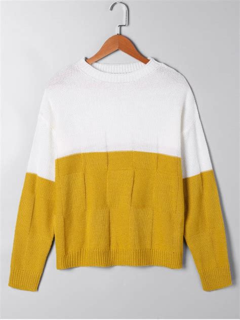 white open knit sweater two tone open knit sweater white and yellow sweaters s