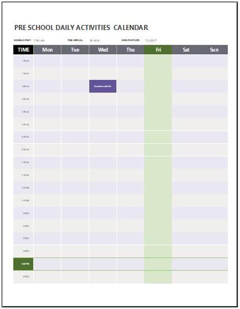 activities calendar template excel preschool calendar templates for ms word excel word