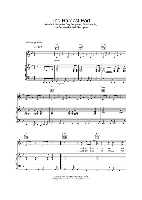 coldplay hardest part the hardest part sheet music music for piano and more