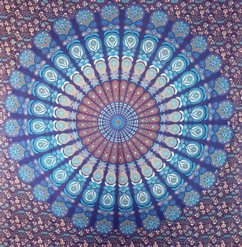 blue pattern tapestry blue mandala tapestry peacock feather mandala cotton