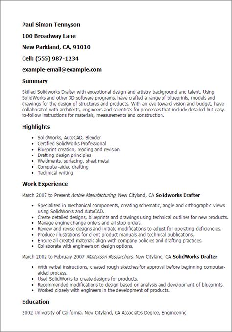 Solidworks Drafter Sle Resume by Civil Construction Engineer Sle Resume Autocad Engineer Sle Resume 3 Drafter Templates