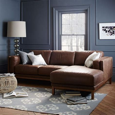 West Elm Leather Sectional by Dekalb Leather 2 Chaise Sectional West Elm