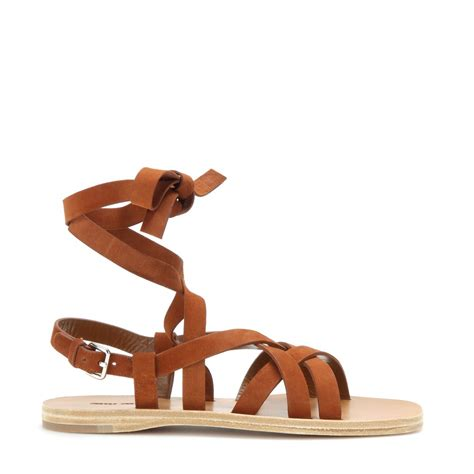 Sandal Flat Miu Miu miu miu suede gladiator sandals in brown lyst
