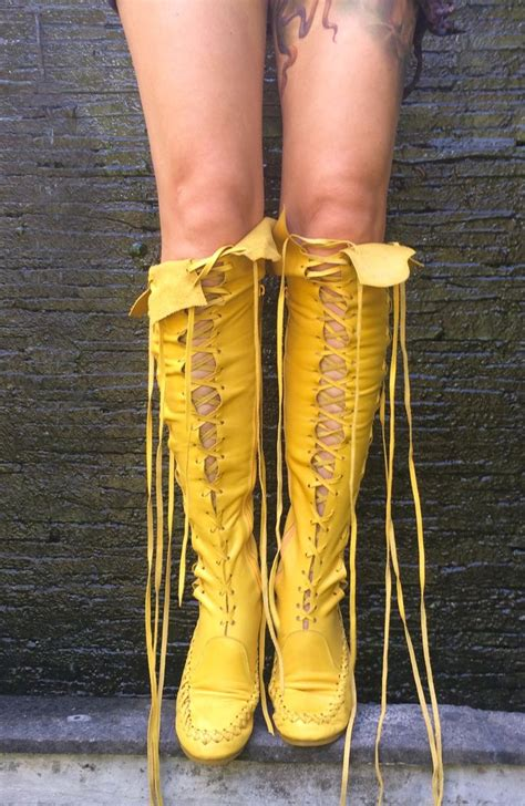 yellow knee high boots leather boots yellow knee high leather boots gipsy dharma