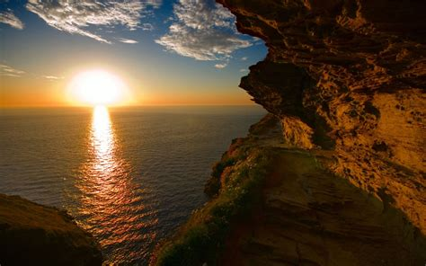 sunset  celtic sea cornwall uk widescreen wallpaper