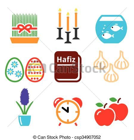 new year clip set clipart vector of nowruz new year icons set