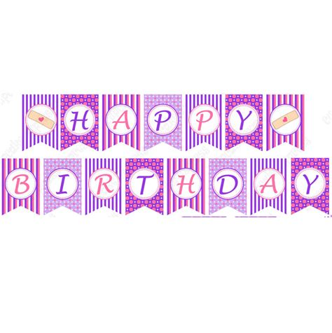 doc mcstuffins printable birthday banner 6 best images of happy birthday cupcake banner printable