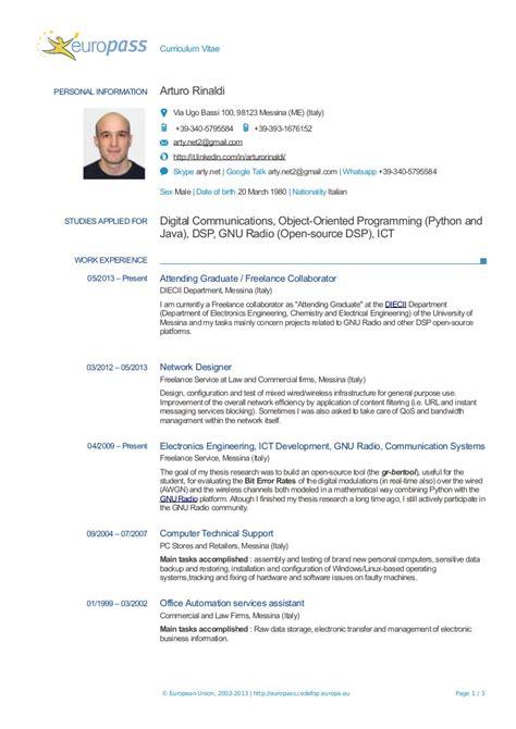 layout curriculum vitae europeo resume a rinaldi europass
