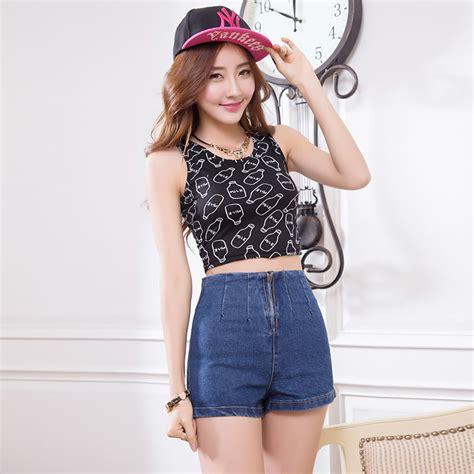summer style 2016 new korean retro high waist shorts