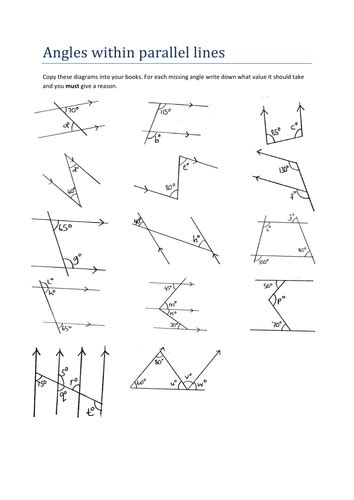 maths worksheet angles within parallel lines by