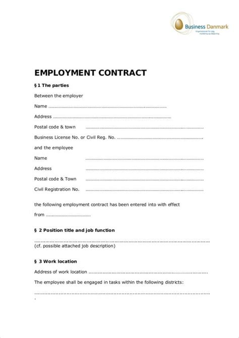 employment contract template pdf 19 employee contract sles templates free word pdf