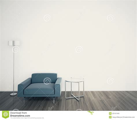 Simple Home Interior Design by Minimal Modern Interior Armchair Face A Blank Wall Stock