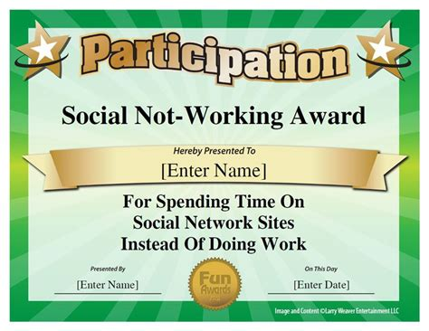 funny awards for work templates social not working award because there s a fine line