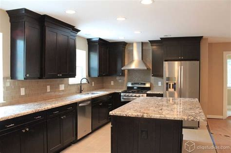 Pics Of Kitchens With Black Cabinets Black Kitchen Cabinets Traditional Kitchen Houston By Cliqstudios