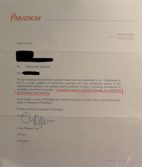 Rejection Query Letter Paradigm Agency You Need An To Get An