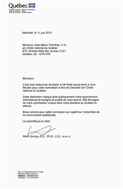 Demande De Nomination Lettre Lettre De F 233 Licitations Du Scientifique En Chef Du Qu 233 Bec Pour La Nomination De Jean