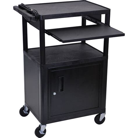 luxor cart with locking cabinet luxor lp42cle b presentation cart with locking cabinet