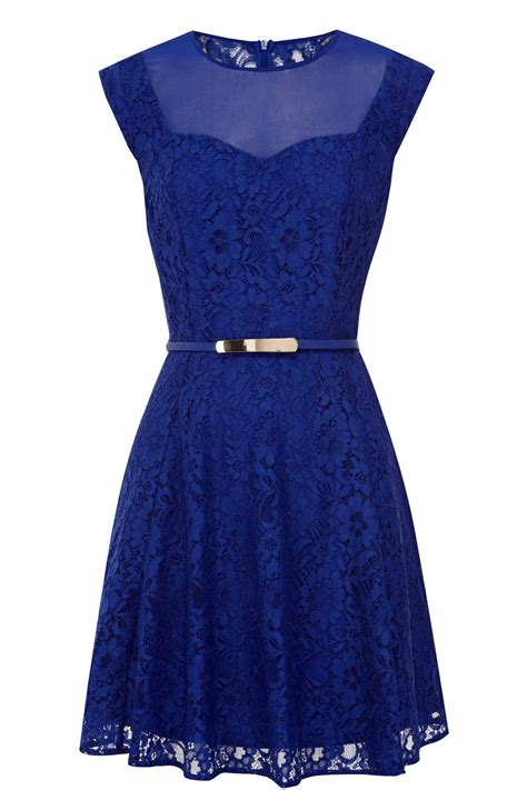 Blue Lace Dress oasis lace skater dress in blue lyst