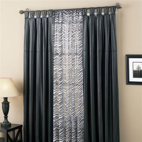 faux leather curtain panels westend faux leather tab top black panel w sheer panel ebay