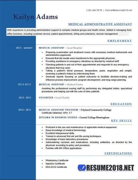 Job Resume With Experience by Medical Assistant Resume Examples 2018 Six Templates In