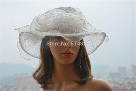 a201 white womens hats sequin organza church wedding